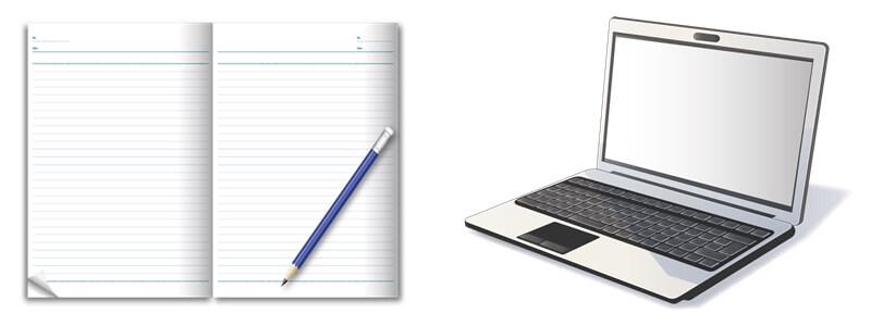 ノートとノートパソコンのイラスト